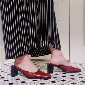 Via Spiga Slides Mules Slip On Block Heel Size 7